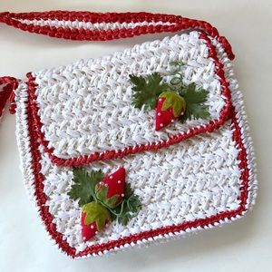 Vintage 1970's Straw Bag with Strawberry Decor